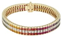 Other Gorgeous14k Yellow Gold 14.65ctw Diamond Multi-color Sapphire Tennis Bracelet