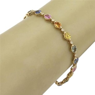 Other Estate Diamonds Multi-color Sapphires Tennis Bracelet In 14k Yellow Gold