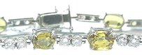 Fine,Gem,Yellow,Sapphire,Diamond,White,Gold,Bracelet,11.26ct