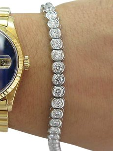Platinum,Round,Cut,Diamond,Tennis,Bracelet,10.02ct,E,-vvsvs