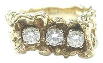Fine Mens 3-stone Diamond Nugget Yellow Gold Ring 14kt .84ct