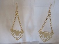 Joomi Lim Gold Cut Out Chain Triangle Dangle Earrings