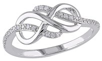 10k White Gold 17 Ct Diamond Swivel Crossover Infinity Fashion Ring Gh I2i3