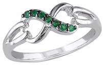 Other Sterling Silver 17 Ct Emerald Infinity Swivel Crossover Fashion Journey Ring