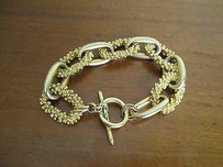 K J Gold Tone Textured Chains Linked Inch Loop Bracelet Bin 3096