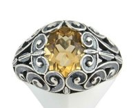 Kabana 2.40ct Citrine Scrollwork Cocktail Ring - 925 Sterling Silver Open Fine