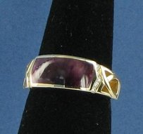 Kabana Purple Spiny Oyster Ring 0.11cts Diamonds 14k Yellow Gold