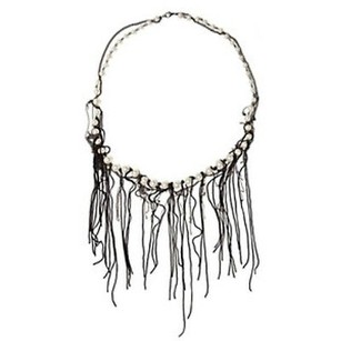 Kelly Bensimon Black Fringe And Pearl Darkness Chain Necklace