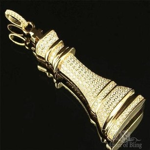 King Chess Piece Pendant Mens Sterling Silver Yellow Gold Finish Lab Diamond