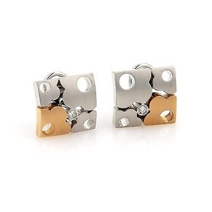 Other Koesia Diamonds 18k Two Tone Gold Floral Puzzle Earrings