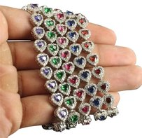 Lab Simulated Gemstone Heart Link Silver Bracelets In Blue Red Pink Green Purple