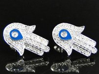 Ladies 10k White Gold 15 Mm Diamond Pave Hamsa Evil Eye Stud Earrings 12 Ct