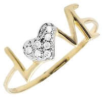 Ladies 10k Yellow Gold Love Word Alphabets Letters Heart Diamond Ring 0.05ct.