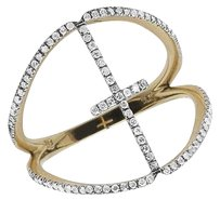 Other Ladies 14k Yellow Gold Cross Split Shank Real Diamond Ring .35ct