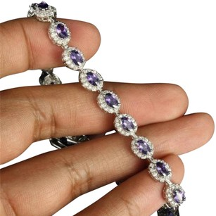 Other Ladies Designer Simulated Amethyst Oval Solitaire .925 Sterling Silver Bracelet