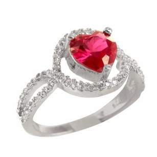 Ladies Silver Infinity Band Heart Cut Ruby Solitaire Lab Diamond Cocktail Ring