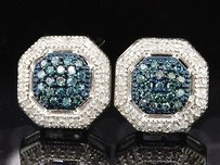 Other Ladies White Gold Blue Diamond Octagon Stud Earrings