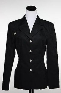 Other Laurel Jeans Womens Black Floral Blazer Cotton Jacket Long Sleeve