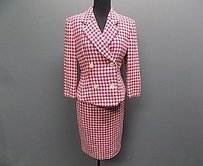 Laurel Pink White Wool Blend Lined Houndstooth Skirt Suit 646a