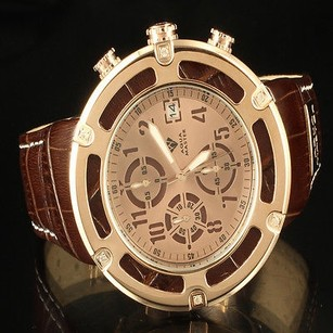 Leather Triple Dial Date Time Aqua Master Men Rose Jojino Watch Rodeo
