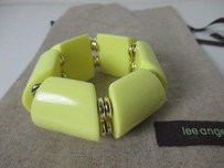 Lee Angel Yellow Cube Gold Ring Stretch Bracelet