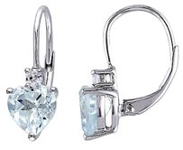 3 15 Ct Tgw Aquamarine White Sapphire Heart Love Leverback Earrings Silver