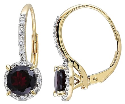 Other 10k Yellow Gold 2ct Tgw Garnet And Diamond Accent Dangle Leverback Earrings