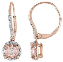 Other 10k Pink Gold 110 Ct Diamond And 1 34 Ct Morganite Leverback Earrings Gh I1i2