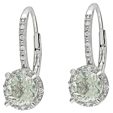 Other Sterling Silver Diamond And 1 25 Ct Green Amethyst Leverback Earrings Gh I3