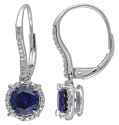 Other 10k White Gold 110 Ct Diamond And 2 Ct Blue Sapphire Leverback Earrings