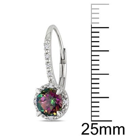 Other Sterling Silver Diamond And 2 Ct Tgw Exotic Green Topaz Leverback Earrings Gh I3