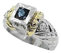 Light Blue Sapphire Ring W 0.20ct Diamonds 14k White 18k Yellow Gold 6.25