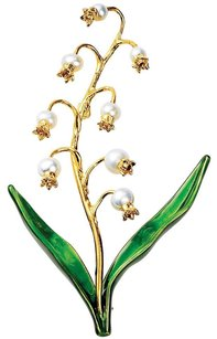 Lily-of-the-Valley Pin with Cultured Freshwater Pearls and Enamel