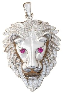 Other Lion Pendant 18k White Gold Amethyst Ruby Eyes Charm Animal Lab Diamonds Unique
