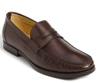 Santoni Ross Penny Loafers Mens Brown Leather Dress Shoes Slip On