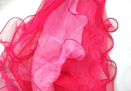 "Other Long 100% Silk Scarf Georgette Hot Pink Theme 73""X14"" (185cm X 35cm)"