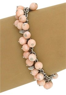 Lovely 18k Wgold .60ctw Diamond Multi Beads Angel Skin Coral Bracelet