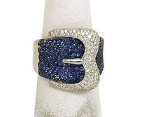 Other Lovely 4ct Diamonds Sapphires 18k White Gold Buckle Design Band Ring