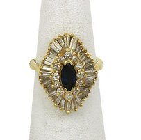 Lovely14k Yellow Gold 3.75ctw Diamond Blue Sapphire Cocktail Ring
