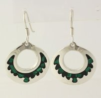 Malachite Enamel Mosaic Earrings - Sterling Silver Pierced Circle 925 Taxco