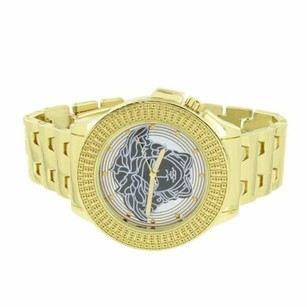 Medusa Face Dial Watch Gold Tone Stainless Steel Back Mm Custom