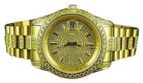 Men 18k Yellow Gold Steel Simulated Canary Diamond Presidential Watch 41mm Pr-03