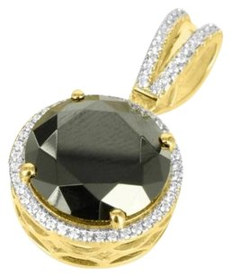 Men Black Onyx Birdman Rapper Round Lab Diamond Yellow Gold Finish Pendant Charm