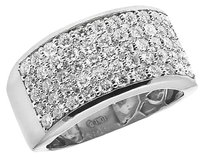Mens 10k White Gold Pave Real Diamond Engagement Wedding Ring Band 2.0ct 12mm