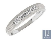 Mens 10k White Gold Two Rows Genuine Diamonds 4.5mm Band Wedding Ring 0.15ct.