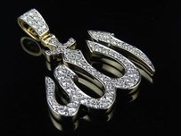 Other Mens 10k Yellow Gold Allah Genuine Diamond Charm Pendant 1.5ct 1.35