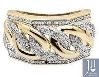 Mens 10k Yellow Gold Miami Cuban Link Genuine Diamond Statement Ring 1.0ct