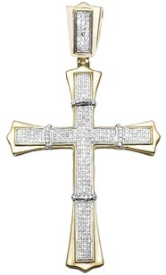Mens 10k Yellow Gold Pave Set Diamond Gothic Cross Charm Pendant 1.75 .75ct