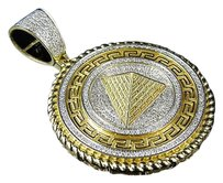 Mens 10k Yellow Gold Real Diamond Egyptian Greek Pyramid Charm Pendant 1.0ct