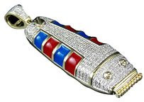 Mens 10k Yellow Gold Real Diamonds Barbershop Clipper Pendant Charm 1.0ct